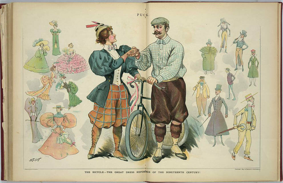 """The Bicycle - The Great Dress Reformer of the 19th-Century"", from <em>Puck</em>, 7 August, 1895."