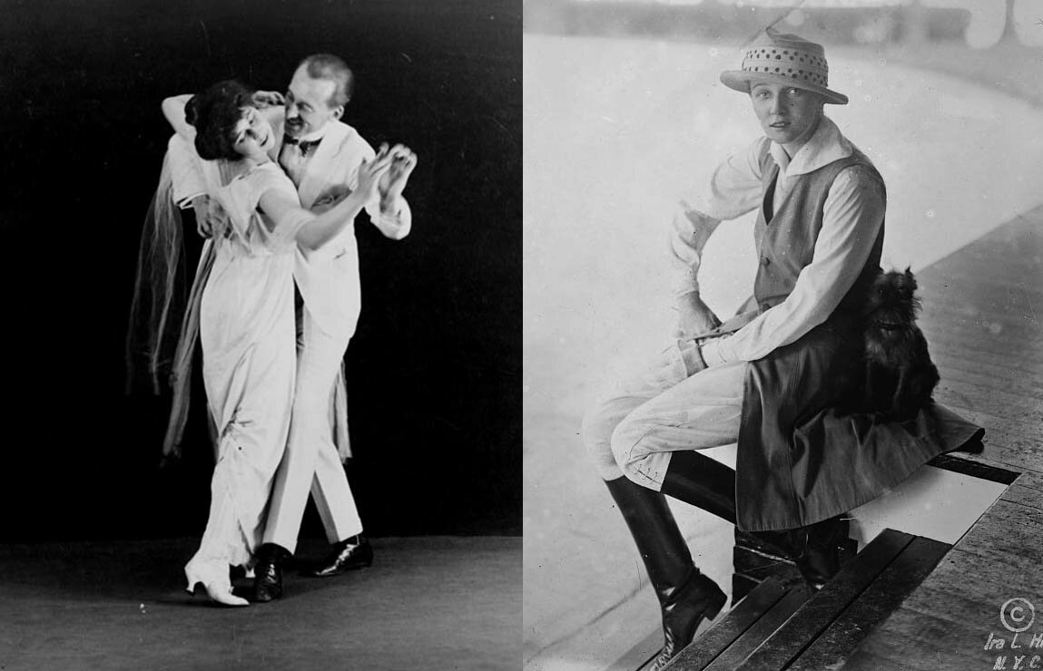 Left, Irene Castle dancing with her husband Vernon; right, Irene Castle in pants, c. 1915.