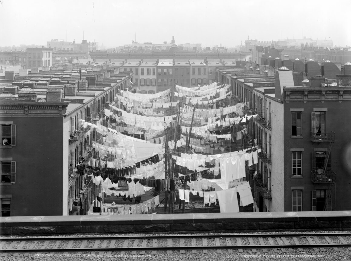 Tenements at Park Avenue and 107th Street, New York, circa 1900.