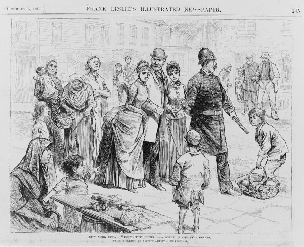 "A sketch in an illustrated newspaper shows affluent New Yorkers ""doing the slums"" in the Five Points neighborhood in Lower Manhattan."