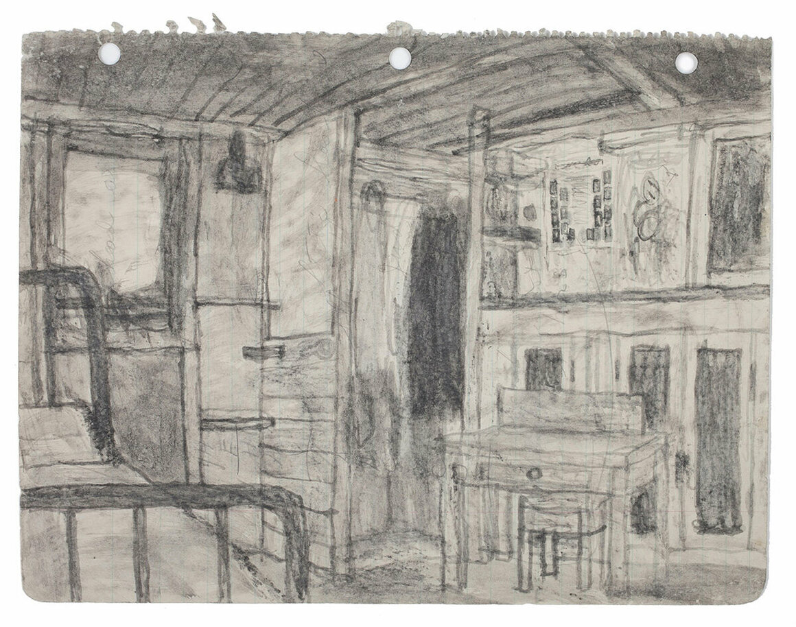 <em>Untitled</em> (shed interior), not dated.     Found paper, soot, 8 3/8 x 11 in.