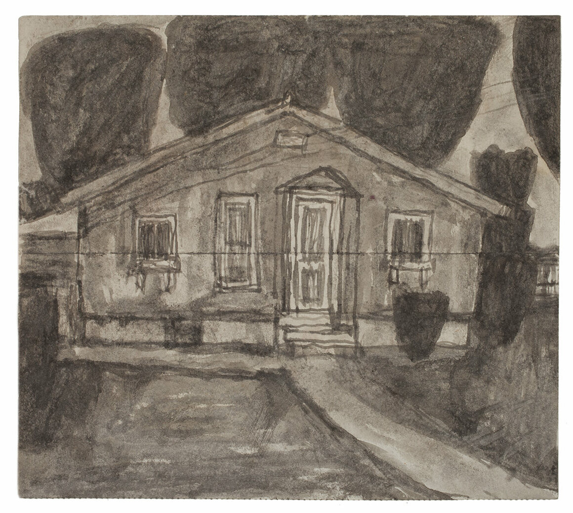 <em>Untitled</em> (Eugene Street house), not dated      Found paper, soot, 7 3/8 x 8 1/4 in.