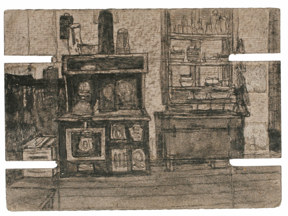 <em>Untitled</em> (kitchen interior), not dated     Found paper, soot, 5 1/4 x 7 1/4 in.