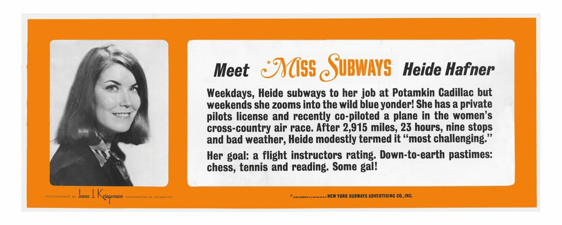 Heide Hafner was the final Miss Subways winner in 1976, having entered with photographs she'd taken herself in a booth.