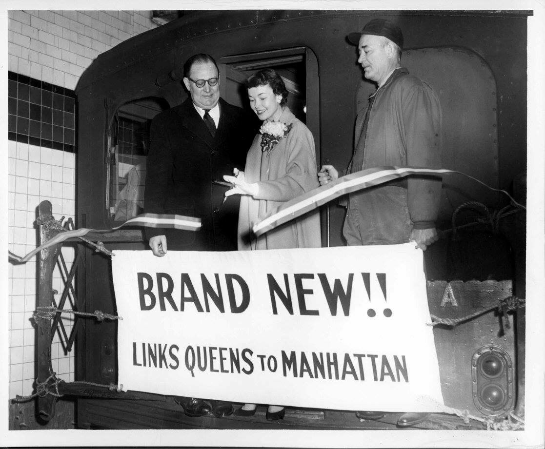 Miss Subways sometimes had ceremonial roles. In 1955, Miss Subways cuts the ribbon to open a Queens-to-Manhattan line.