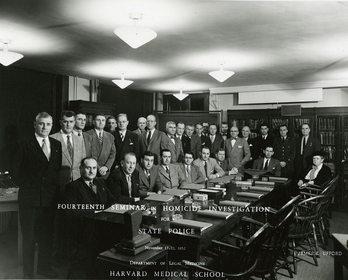 Glessner Lee (far right) at a Harvard Homicide Seminar, 1952.