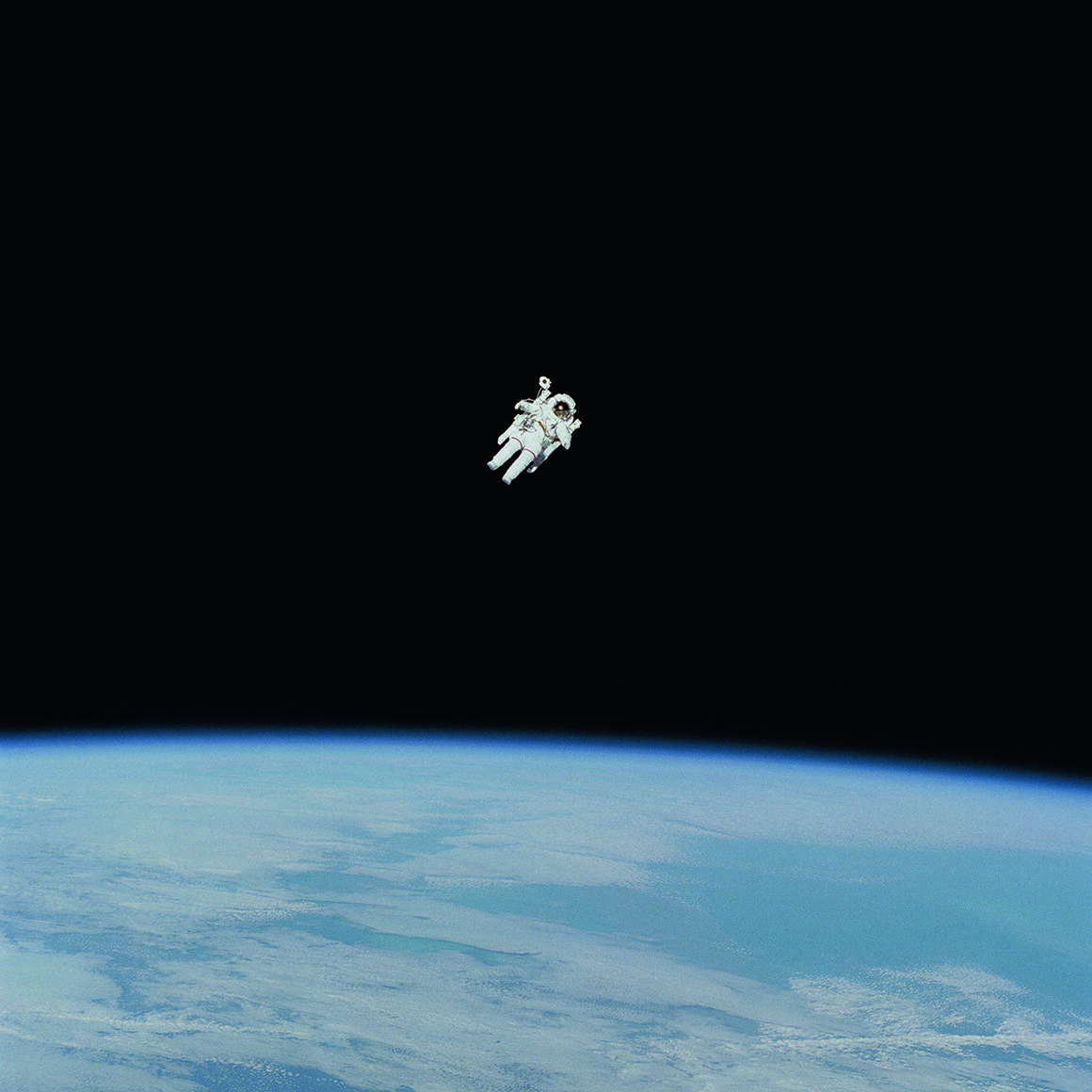 NASA astronaut Bruce McCandless during the first untethered spacewalk in history. Not long afterward, NASA discontinued such spacewalks.