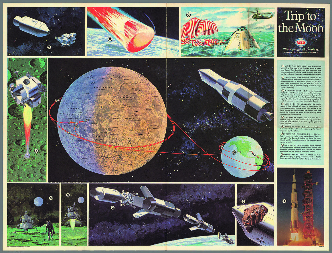 A poster produced in association with NASA with details of the 1969 Apollo 11 mission to the Moon. It was a promotional gift to customers at Esso gas stations.