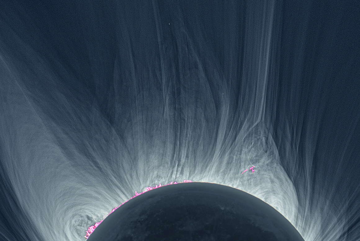 A detailed view of a solar corona during an eclipse. This image was produced using 25 separate images during the 2008 eclipse in Mongolia.