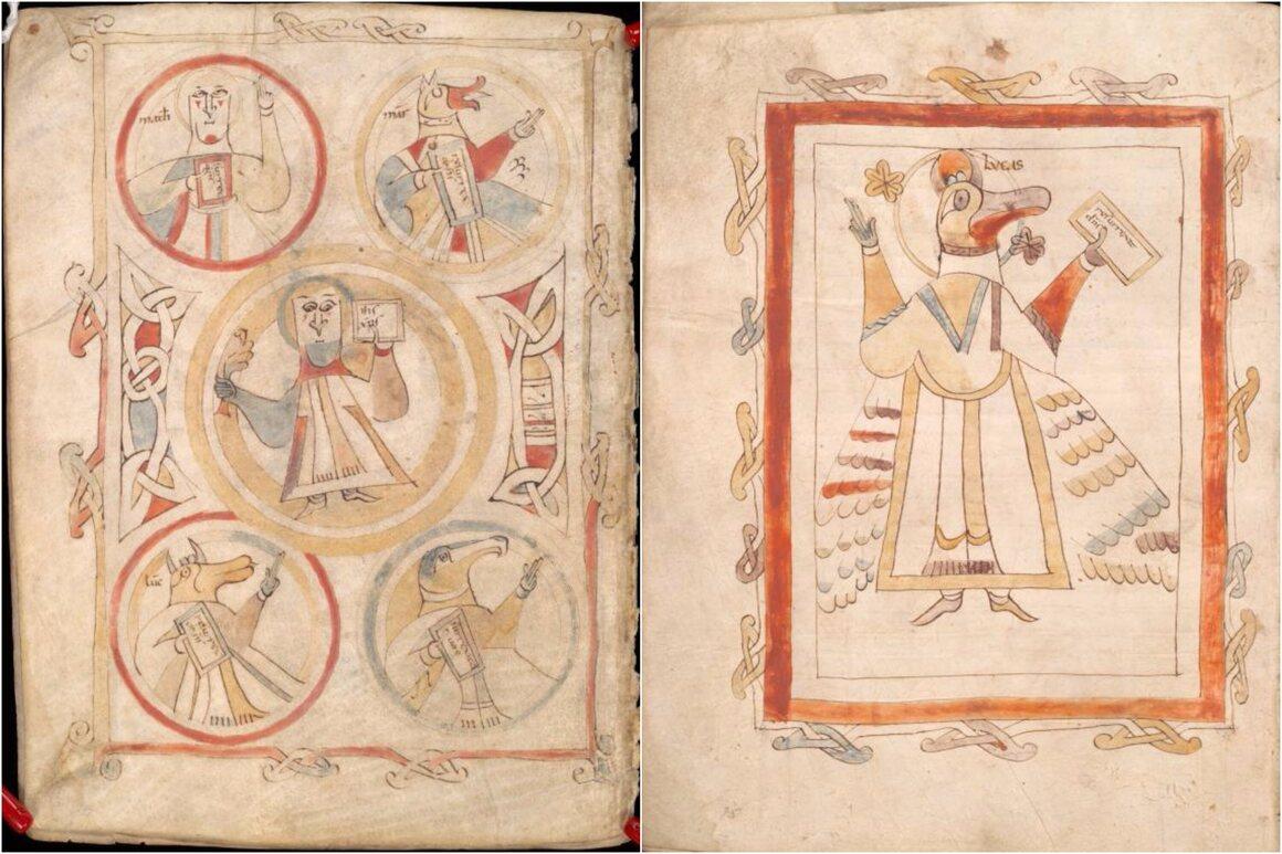Landévennec Gospels illustrations, showing a Celtic influence.