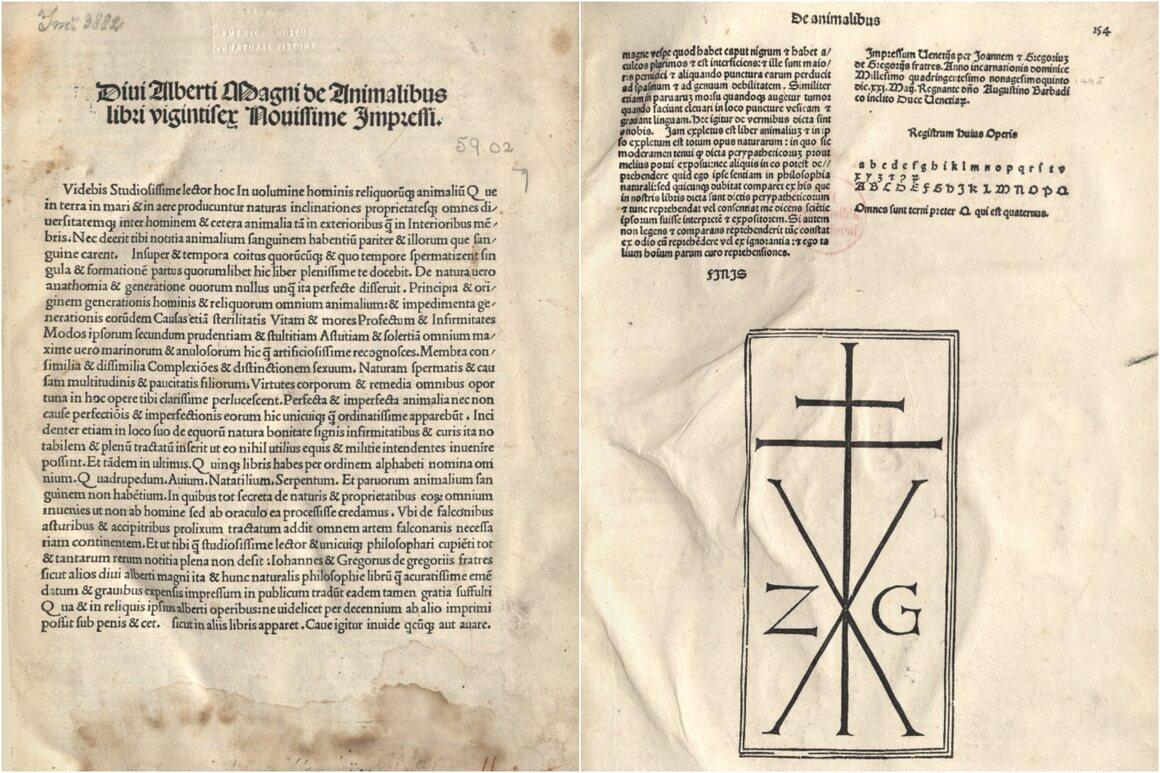 <em>De animalibus</em>, title and last pages, including colophon.