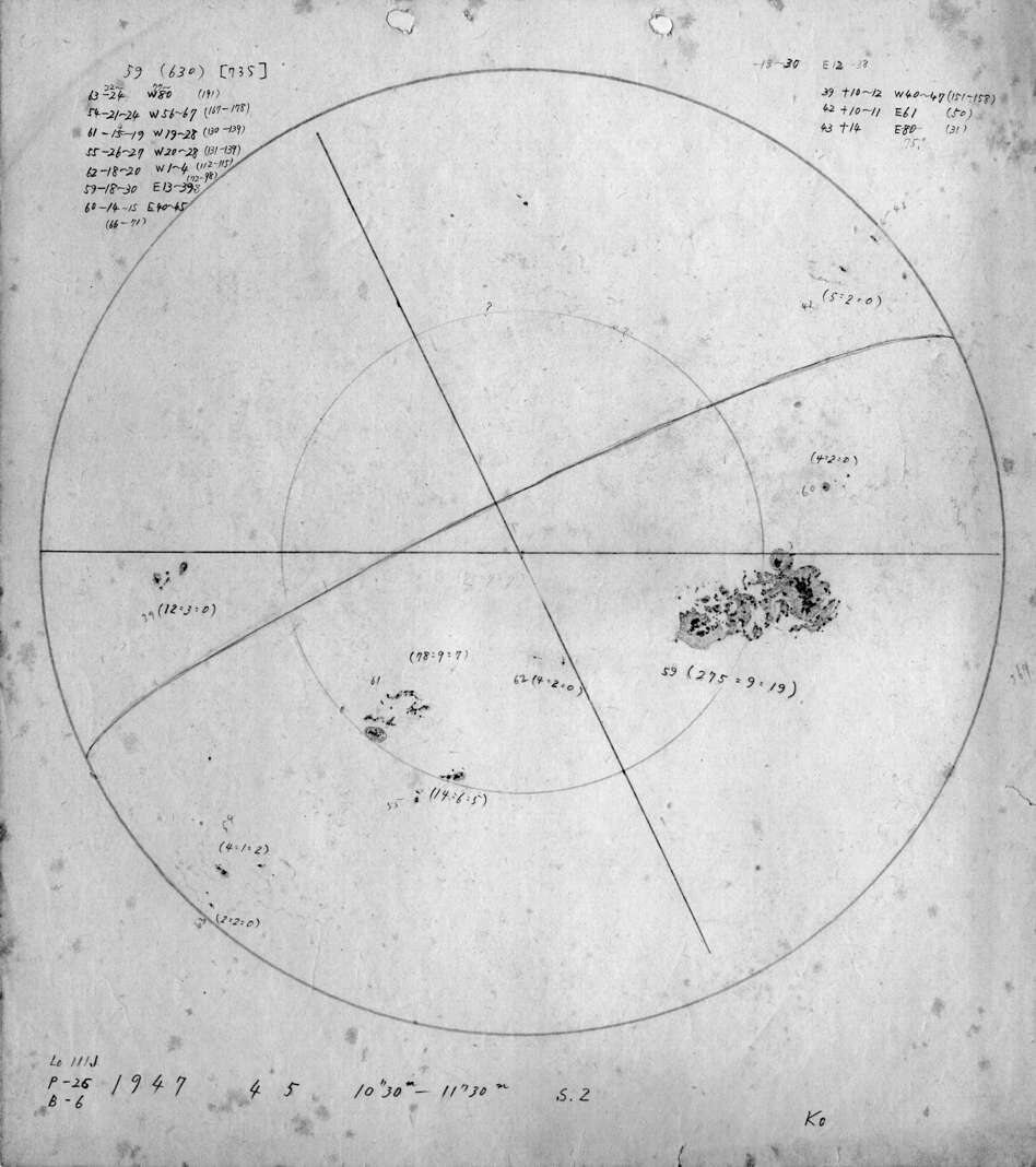 The largest sunspot of the 20th century, drawn by Koyama on April 5, 1947.
