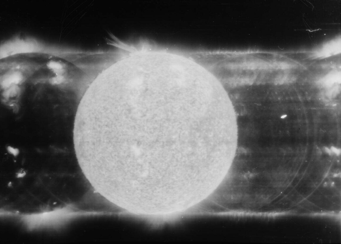 The solar eruption of June 10, 1973, in a spectroheliogram obtained during the Skylab 2 mission.