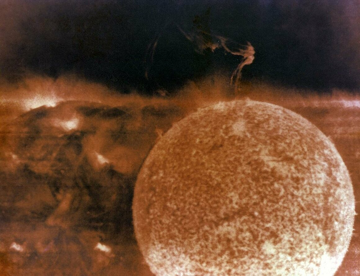 Solar prominences captured from space in 1973.