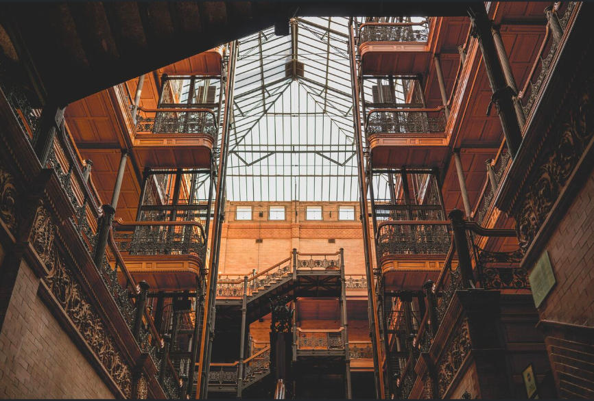 An interior view of the Bradbury Building.