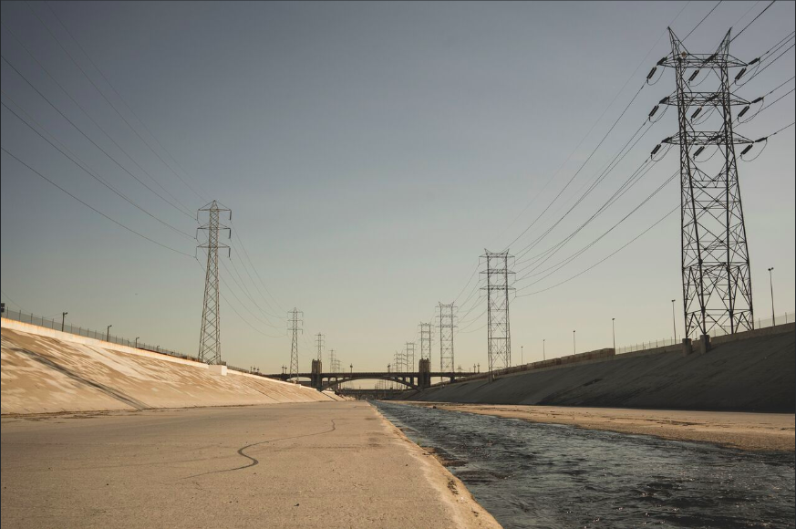 A view from the LA River bed.