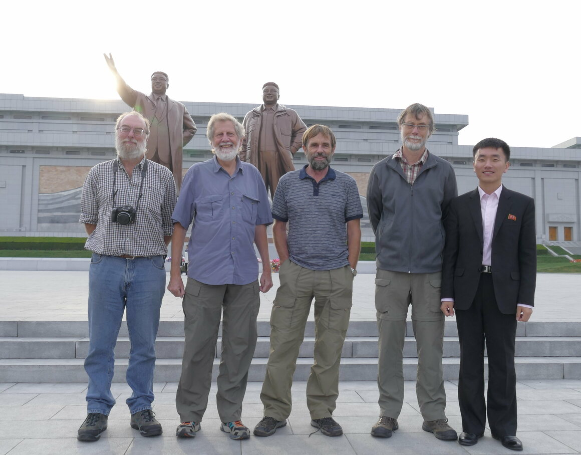 The 2016 survey team, David Melville, Bruce Postill, Adrian Riegen, Keith Woodley, and their minder, Ju Song I.