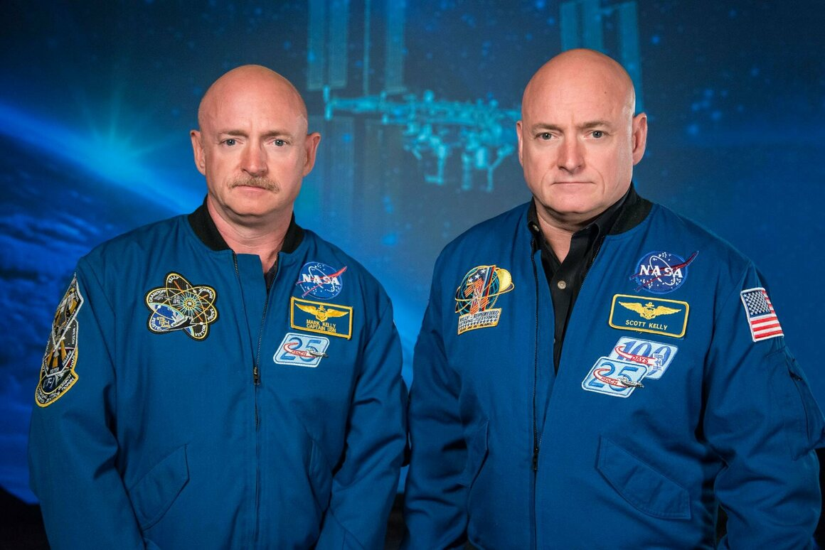 Scott Kelly (right) with his twin brother, Mark, who is also an astronaut.