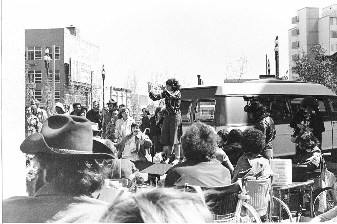 Lanette Taylor interpreting at the demonstration.