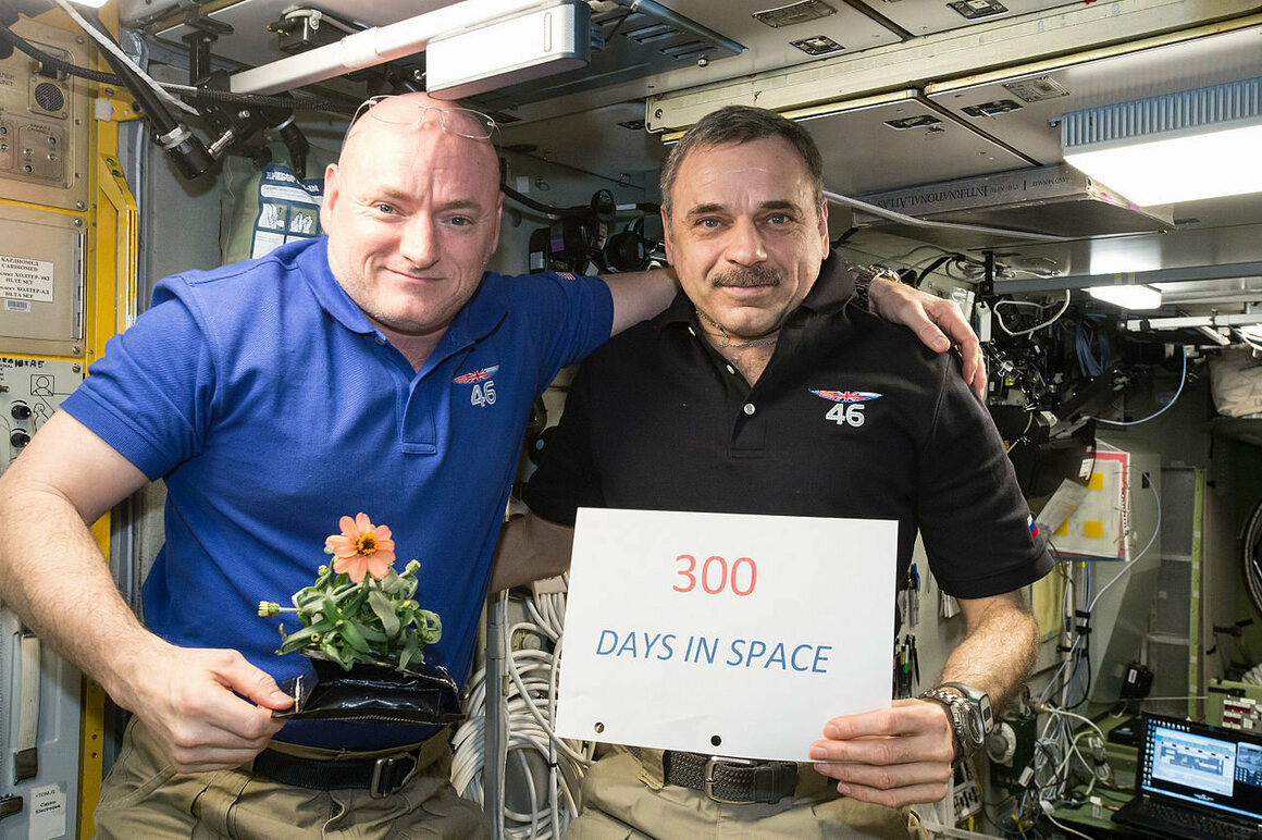 Kelly and Cosmonaut Mikhail Kornienko mark their 300th day in space, on January 21, 2016.