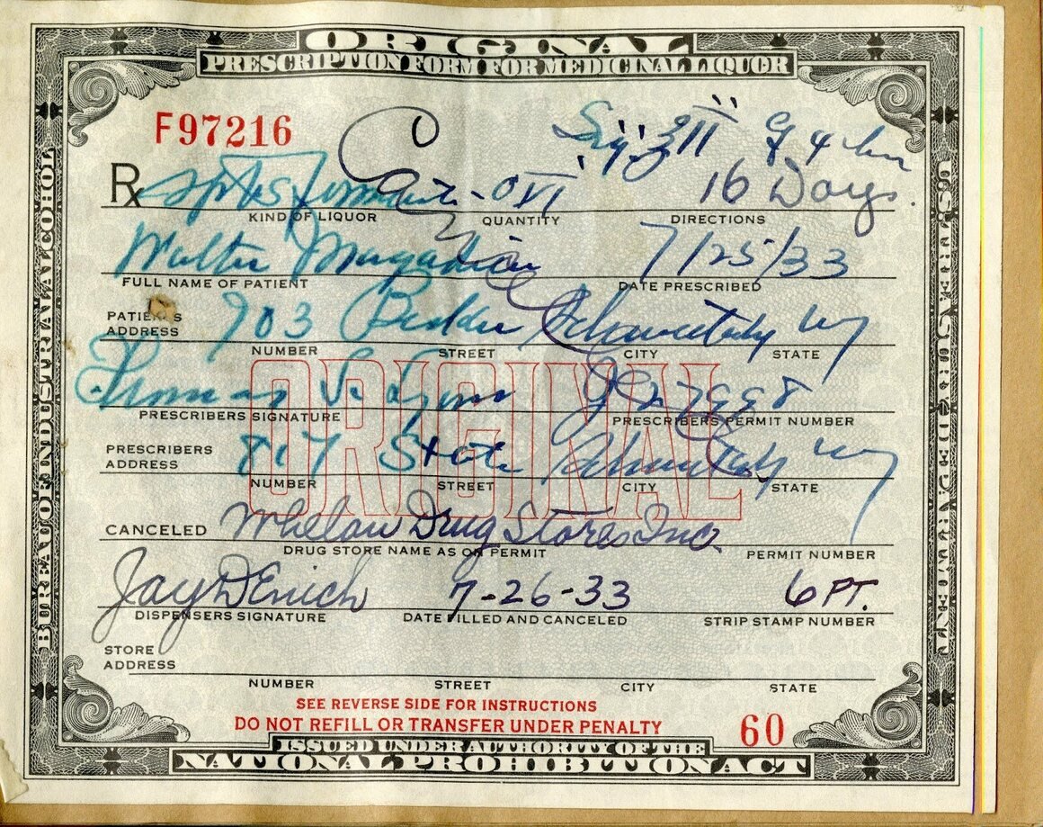 A prescription for medicinal alcohol from Whelan's Drug Store in Schenectady.