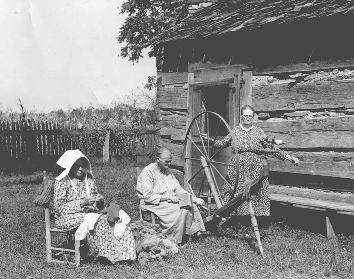 Three mountain women spinning yarn, 1939. The healers have traditionally served mountain communities.