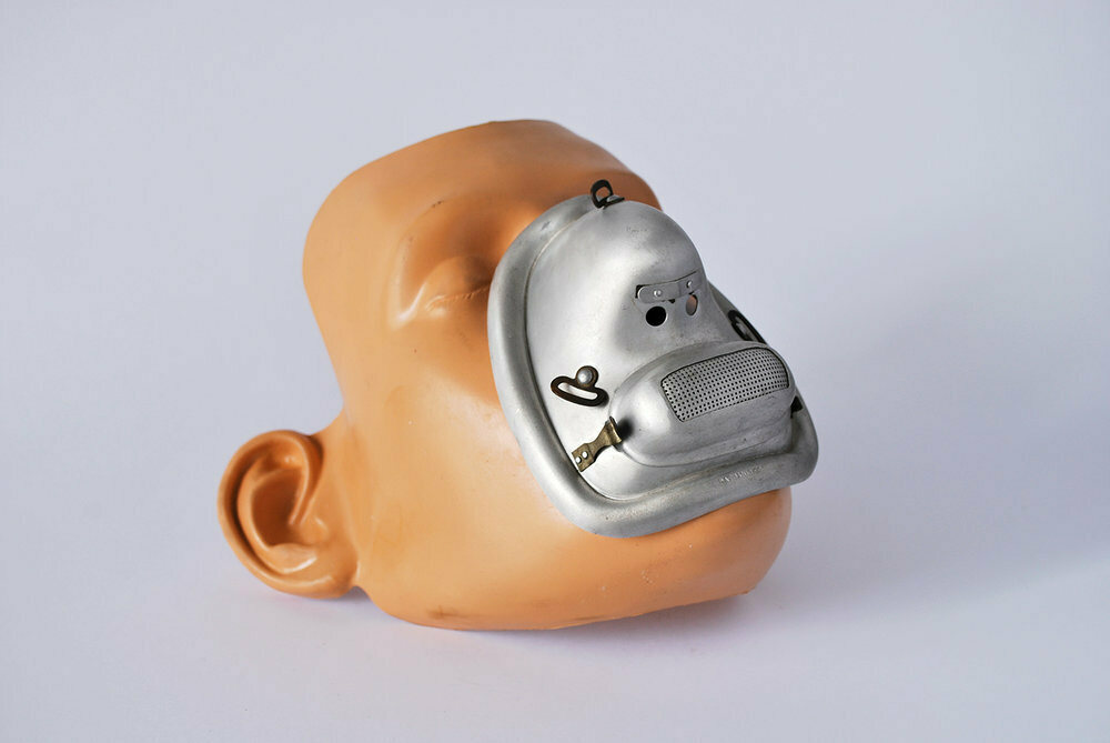 An aluminum mask from 1903 used to restrain patients at Fairfield State hospital in Newtown, Connecticut.