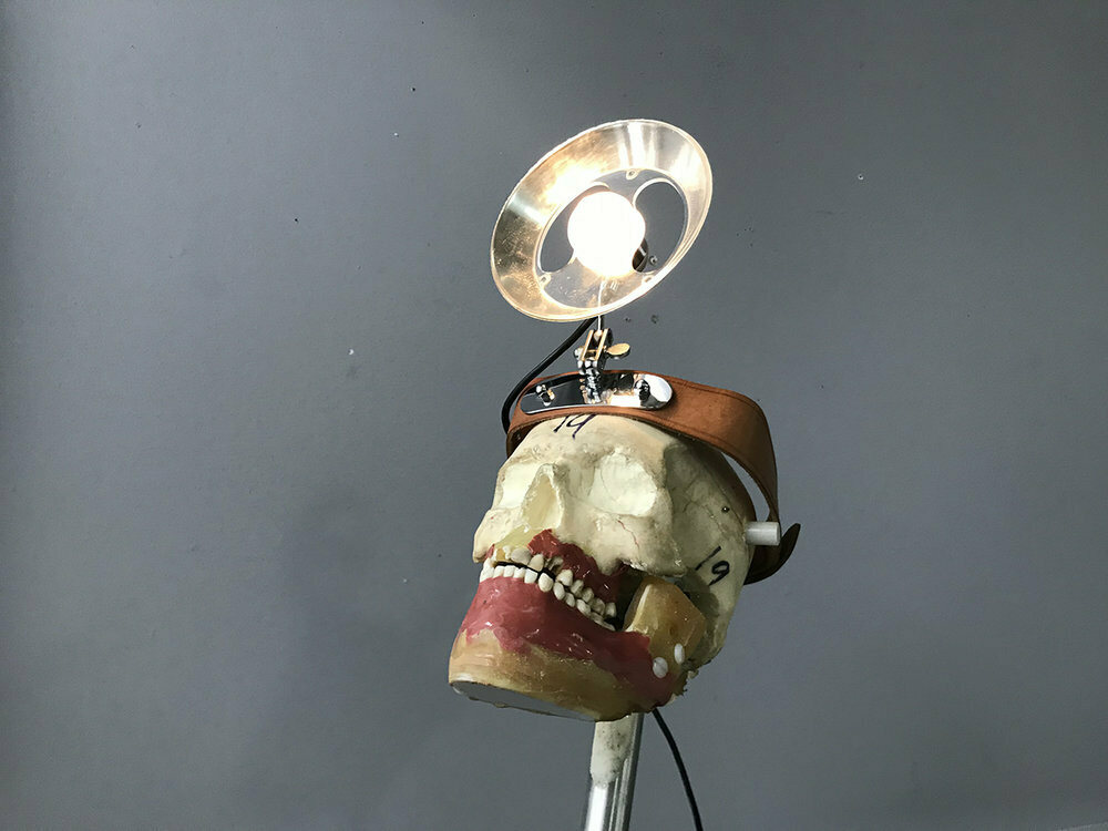 A surgical headlamp from the 1950s.