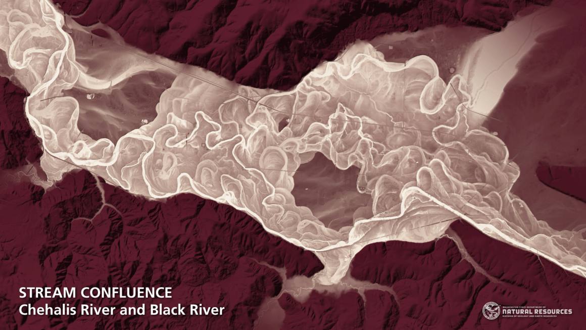 The confluence of two rivers.