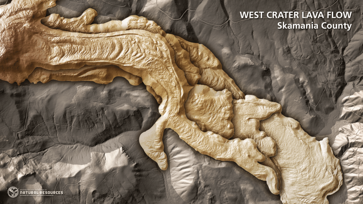 Lidar reveals the layers of lava flows of West Crater in Gifford Pinchot National Forest.