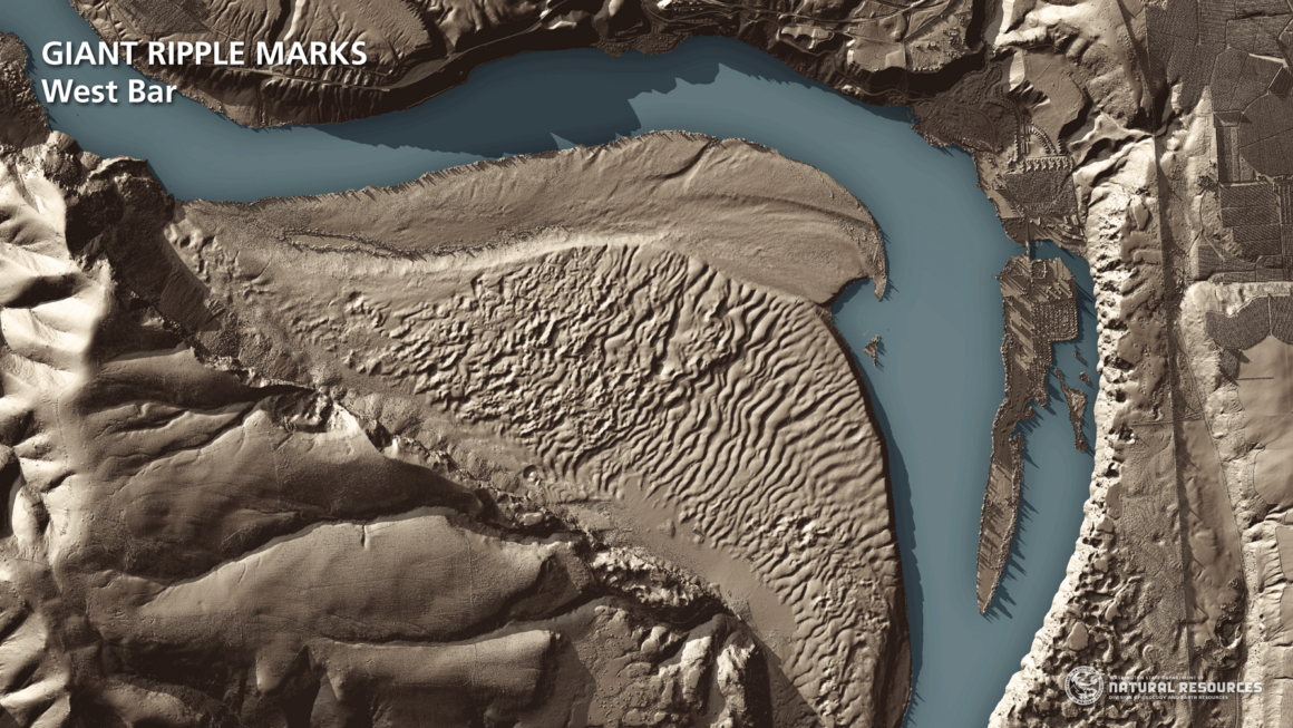 Giant ripples created by long-ago flooding.