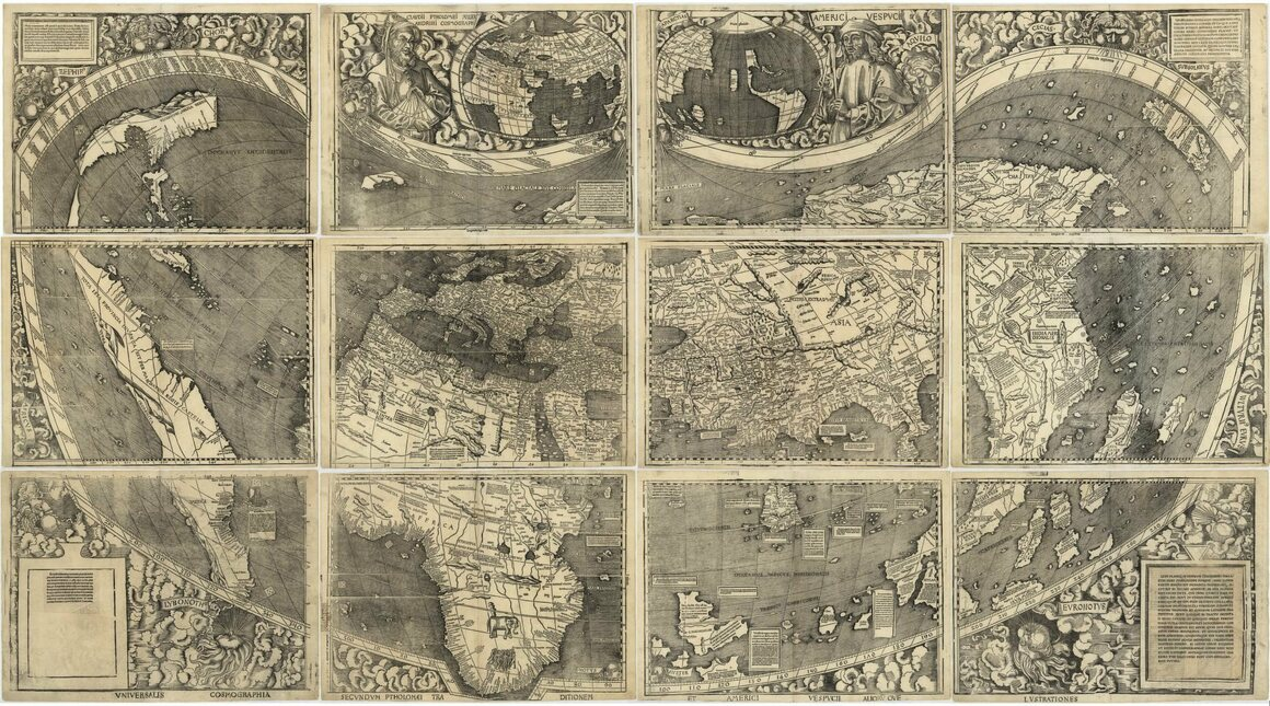 The Waldseemüller wall map, <em>Universalis cosmographia secundum Ptholomaei traditionem et Americi Vespucii alioru[m]que lustrationes</em>, 1507.