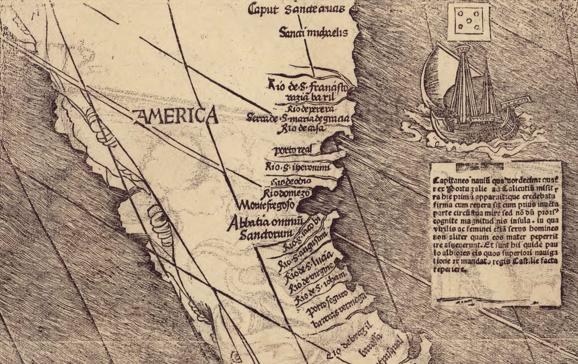 "Closeup of the Waldseemüller wall map showing ""America."""