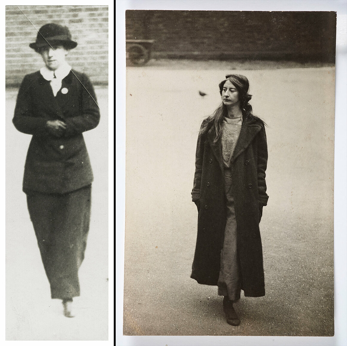 Surveillance photographs of arsonist Mary Richardson and Grace Marcon, who was arrested during a scuffle with police, 1913–14.