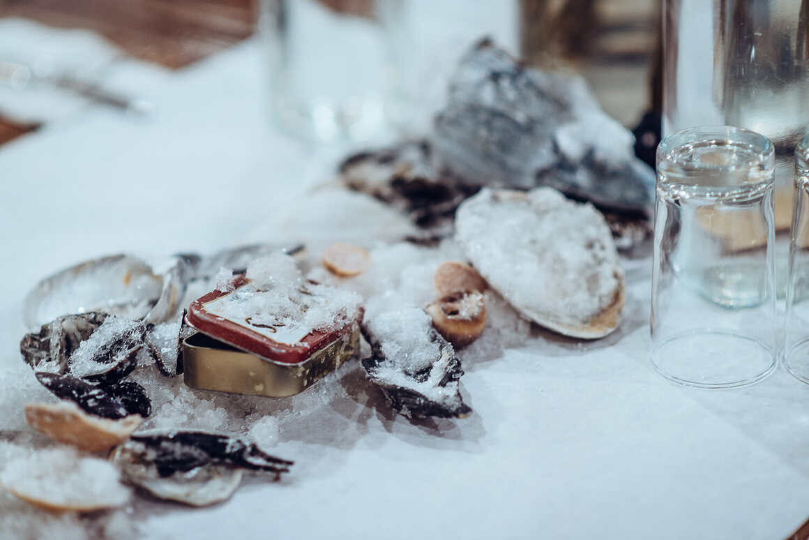 Salt-crusted shells were both centerpiece and dessert.