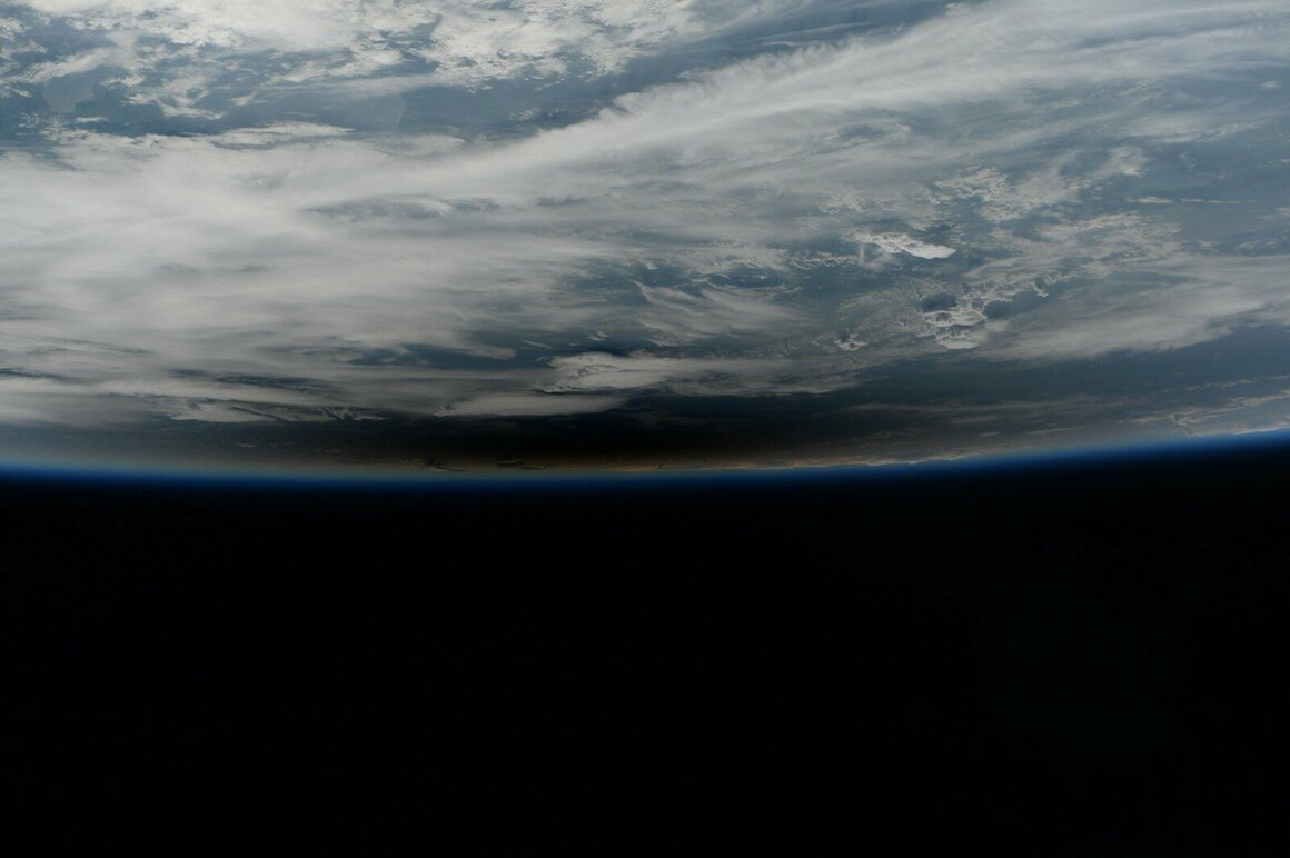 The moon's shadow on Earth, photographed by Astronaut Paolo Nespoli during the solar eclipse, August.