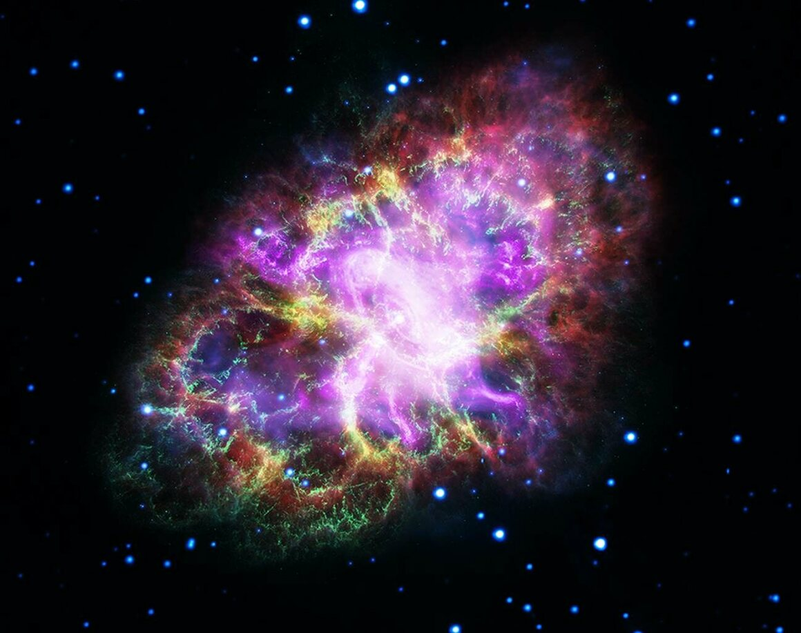 An image of the Crab Nebula, 6,500 light years away, created with data from five telescopes, including Hubble, May.