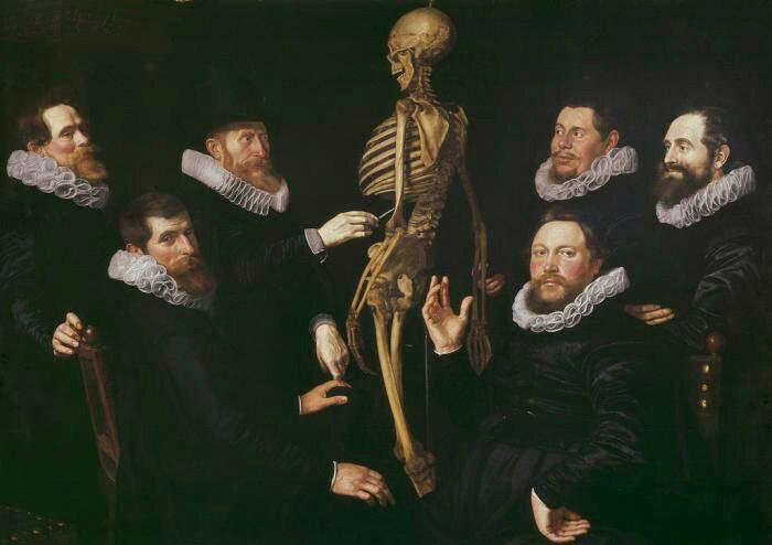 <em>The Osteology Lesson of Dr. Sebastiaen Egbertsz</em>, Nicolaes Eliaszoon Pickenoy, 1619.