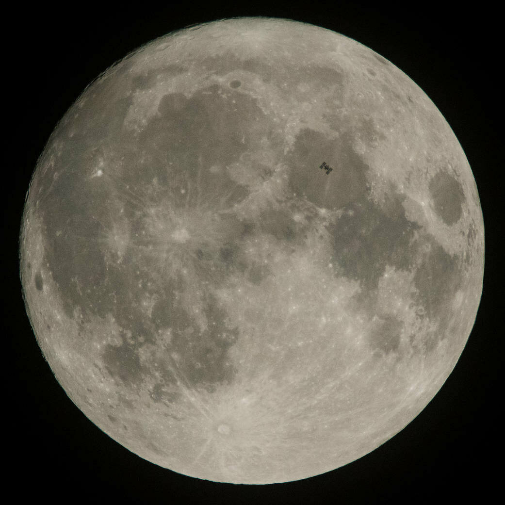 The International Space Station transits the Moon, December.