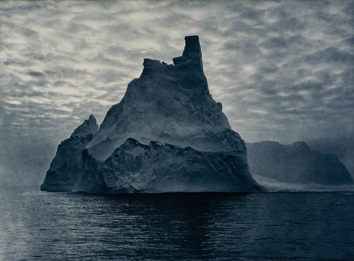 A photograph by Frank Hurley, who accompanied explorers on Antarctic jaunts multiple times in the early 20th century.