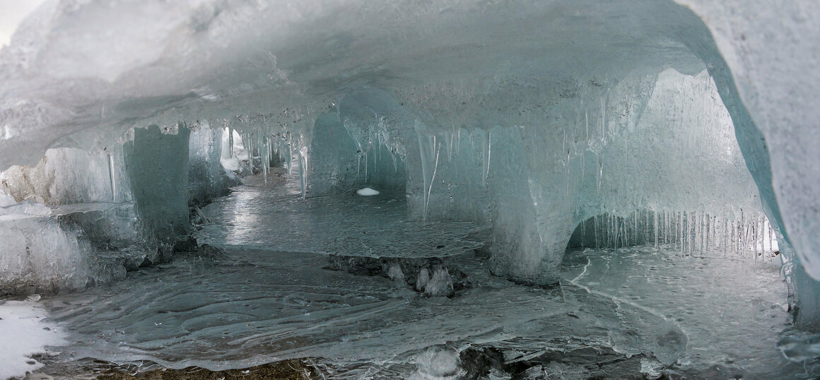 """An interior view of the """"Ice Palace"""" at Lake Hoare."""