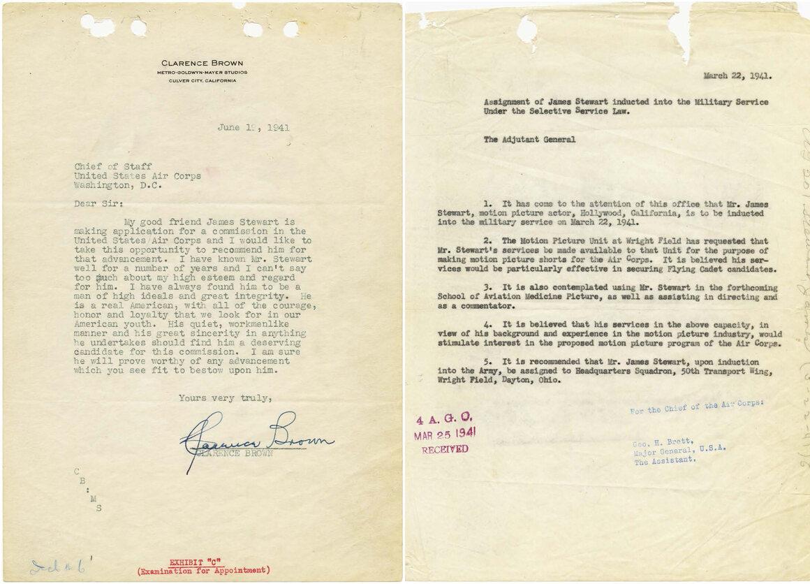 Cartas del registro militar de Jimmy Stewart, 1941.