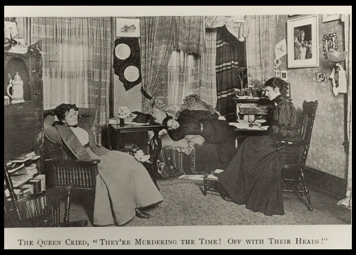 Three students in a boarding house room, from the book <em>Daughters of Aesculapians</em>, c. 1890.
