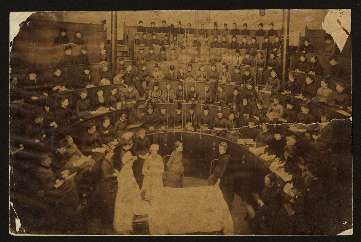 Operating room, North College Avenue, early 1890s.