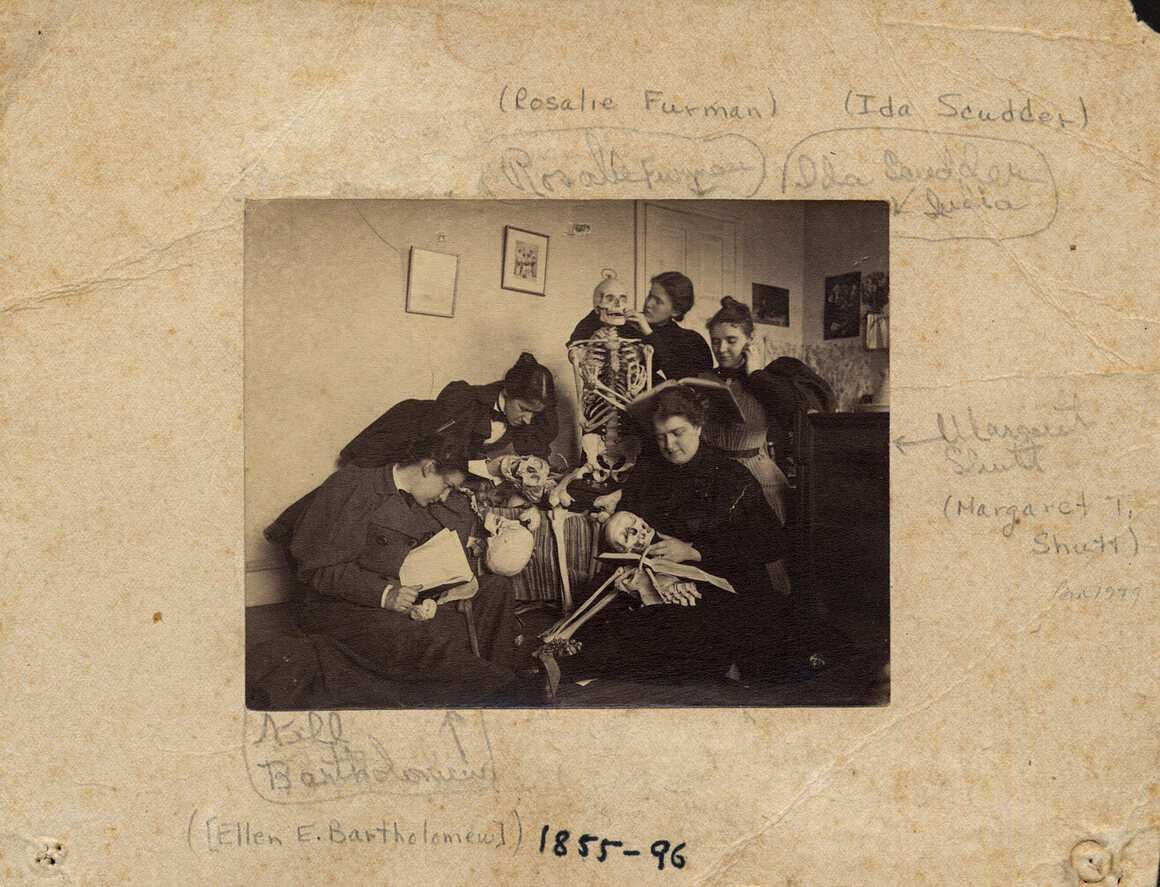 Students with skeletons, c. 1895.