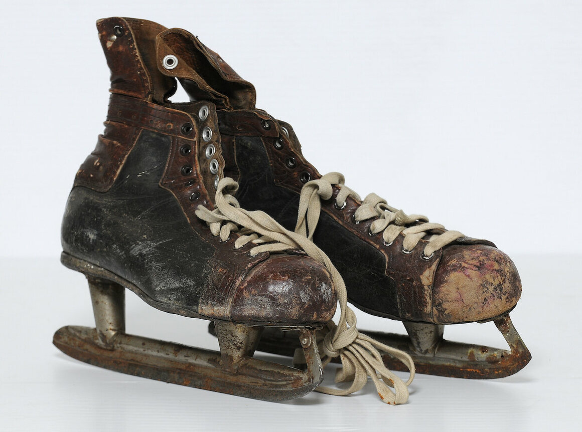New York Americans hockey star Red Dutton's skates, ca. 1930.