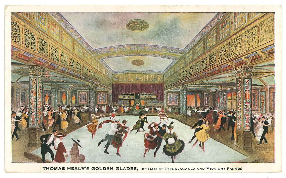 Postcard of Thomas Healy's <em>Golden Glades, Ice Ballet Extravaganza and Midnight Parade</em>, c. 1916.