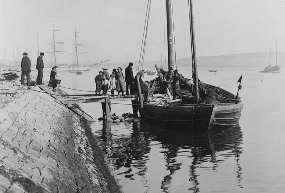 Returning from fishing, Lerwick, Scotland, early 1900s.