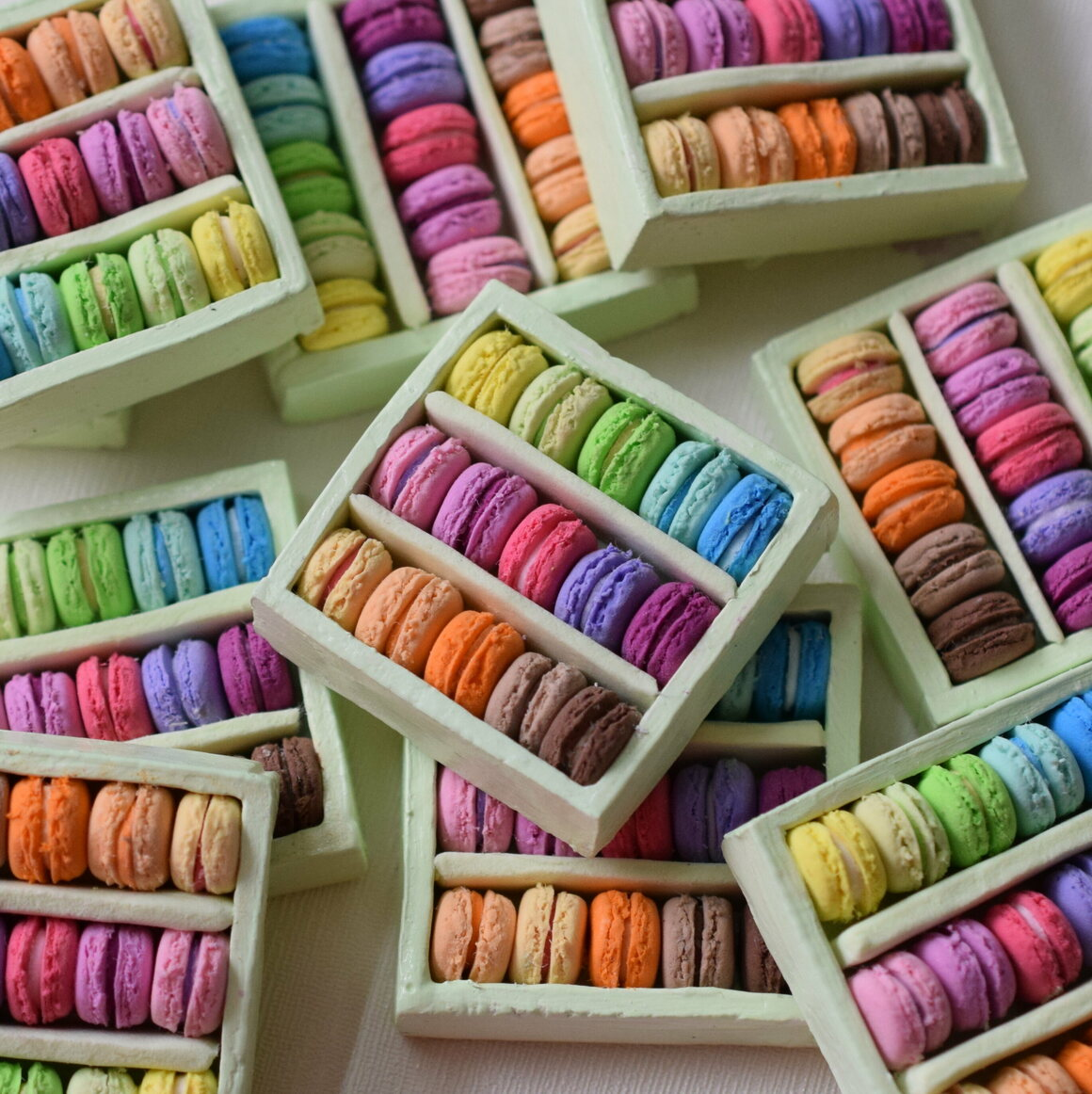 Colorful French macarons on display.