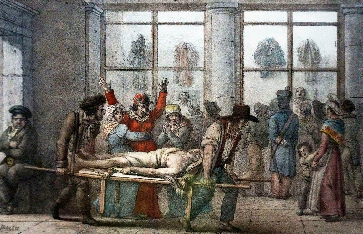 A corpse is carried out through the morgue, c. 1840s.